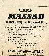 Advertisement for Camp Massad, ca. 1970. Ontario Jewish Archives, Blankenstein Family Heritage Centre, accession 1992-9-5.|