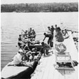 Camp B'nai Brith campers at the lake, starting on overnight with girls, 1952. Ontario Jewish Archives, Blankenstein Family Heritage Centre, accession 2008-11-8.|