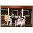 Group of campers in front of cabin at Camp New Moon, ca. 1987. Ontario Jewish Archives, Blankenstein Family Heritage Centre, accession 2015-6-3.|