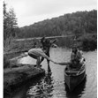 Girls cabin on a canoe trip with Joe Solomon (tripper), Camp Timberlane, ca. 1964.  Ontario Jewish Archives, Blankenstein Family Heritage Centre, accession 2015-6-6.|