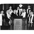 Cantor Zigelman and choir, Hebrew Men of England Synagogue, Toronto, 1954. Ontario Jewish Archives, Blankenstein Family Heritage Centre, item 6128.|